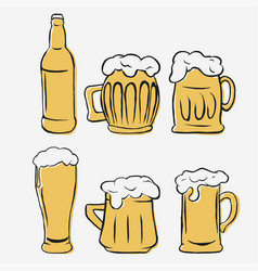 beer glasses set hand-drawing glass and bottle vector image vector image