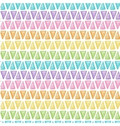 Hand drawn rainbow triangles on white background vector image