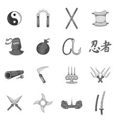 Ninja icons set black monochrome style vector image vector image
