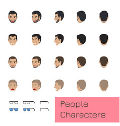 people characters set with emotions and poses vector image