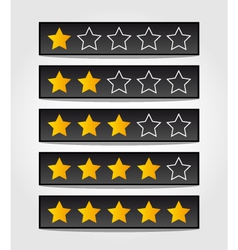 Set of black rating stars vector