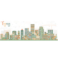 taguig philippines skyline with color buildings vector image vector image