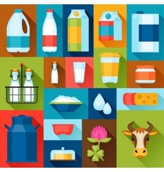 with dairy products in flat design vector image