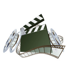 film clapperboard and movie film reels vector image vector image