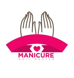 manicure logo template with two female hands on vector image vector image