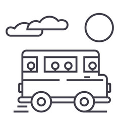 travel bus line icon sign on vector image vector image