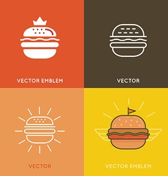 burger logo design elements vector image vector image