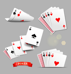Playing cards Four aces playing cards vector image vector image
