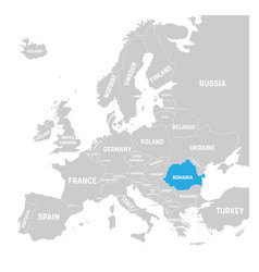 romania marked by blue in grey political map of vector image