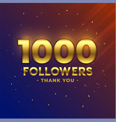 1000 followers celebration thank you template vector