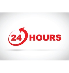 24 hours icon red vector