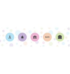 5 architecture icons vector