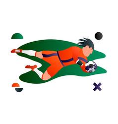 a soccer football player goalkeeper cartoon vector image