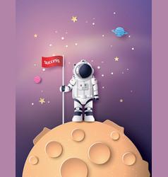 Astronaut with flag on the moon vector