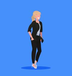 attractive businesswoman holding handbag standing vector image