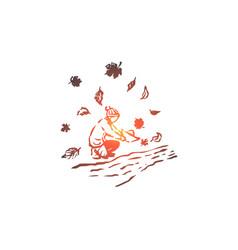 autumn boy river season paper concept hand vector image