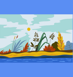 Autumn or spring landscape with foliage bloom vector
