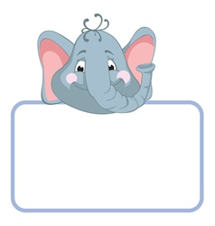 baby elephant cartoon label vector image