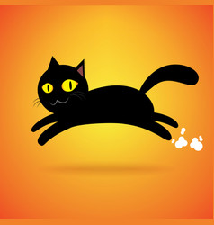 Black cat jump isolated background happy vector