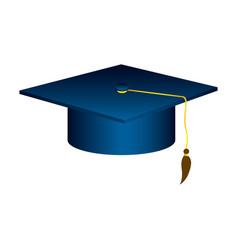 blue graduation hat icon vector image