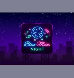 blue moon night club logo in neon style neon sign vector image