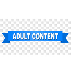 Blue ribbon with adult content caption vector