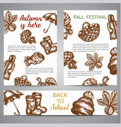 Brochure set banners with autumn symbols sketch vector