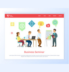 business seminar boss with workers on meeting vector image
