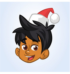 cartoon christmas elf santa helper head vector image