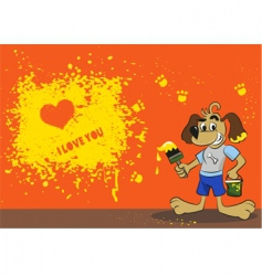 cartoon dog card vector image