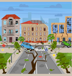 cartoon earthquake disaster concept card poster vector image