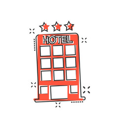 cartoon hotel icon in comic style tower sign vector image