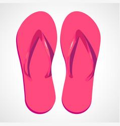 Cartoon pink beach slippers vector