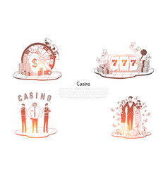 casino - people with money security cards vector image