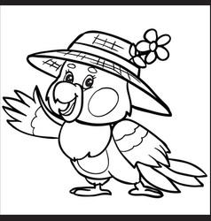 Character a parrot in a hat is drawn in outline vector