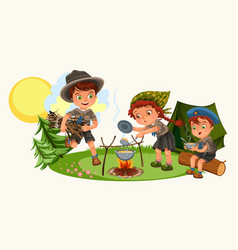 Cheerful friends sitting in cozy place in forest vector