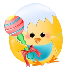 Chick baby with rattle vector image