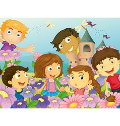 Children and flowers vector image