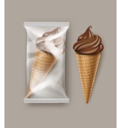 Chocolate Soft Ice Cream Waffle Cone and Foil vector