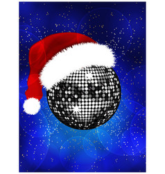Christmas disco ball with Santa hat vector image