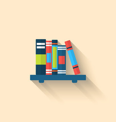Colorful Different Books on the Shelf with Long vector
