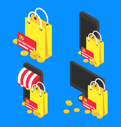concept online shopping isometric vector image