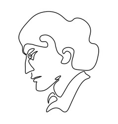 continuous line sketch portrait man in profile vector image