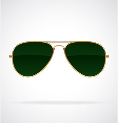 Cool aviator sunglasses green lenses gold frames vector