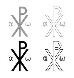 Crismon symbol cross monogram xi hi ro konstantin vector