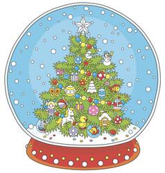 Crystal ball with a christmas tree vector