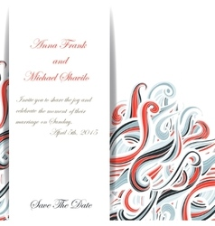 Curl abstract wedding card with multicolored waves vector image