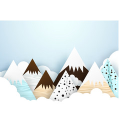 cute mountain and cloud background paper art vector image