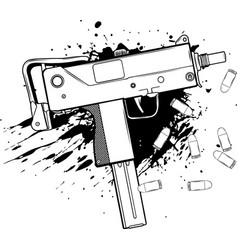 draw in black and white army uzi weapon with vector image