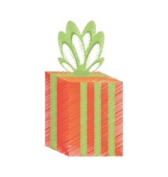 Drawing gift box stripes green bow festivity vector